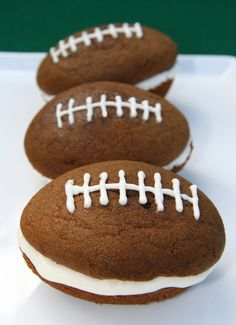 Football Whoopie Pies...use dark brown sugar and 1/4 of a cup of cocoa for the brown color.