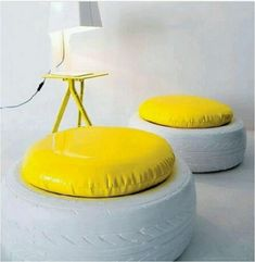 IDEAS CHAIRS, OTTOMAN AND TABLES MADE FROM TIRES