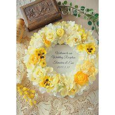 Happyイエローのウェルカムリース* 明日結婚式を迎えられる花嫁さまからのオーダーでお作りしました♪ イエローパンジーをアクセントにしたリース∞ ふわふわころんとしたかわいらしいイメージで* レモンイエロー、ビビッドなイエローを使ってグラデーションを表現しました(*^^*) ・ ・ ・ #リース#ウェルカムリース#フラワーリース#ウェディング#ウエディング#ウェルカムスペース#ウェルカムボード#プレ花嫁#結婚式#結婚式準備#結婚準備#結婚祝い#オーダー#ハンドメイド#アーティフィシャルフラワー#造花#イエロー#パンジー#wedding#welcomeboard#wreath#flower#bridal#ハンドメイド#あじさい#yellow#お花#フラワーアレンジメント#Happy#love