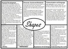 Shapes EYFS Medium Term plan