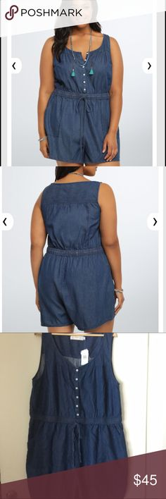 Chambray denim romper A throw-it-on-and-go romper with instant-outfit quality. Chambray (a lightweight substitute for denim) has live-in-it-all-summer-long quality with a vintage-inspired button front and a smocked, adjustable waist. Side pockets lend adventurous quality. torrid Pants Jumpsuits & Rompers