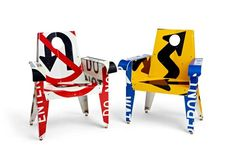 Designer Boris Bally of Providence, Rhode Island utilizes the graphic and material potential of recycled traffic signs as his medium, transforming them into bold, statement pieces of furniture.