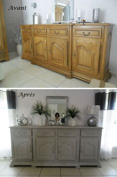 avant buffet enfilade en ch ne vernis apr s peinture et stucco lustro sur le plateau gris. Black Bedroom Furniture Sets. Home Design Ideas