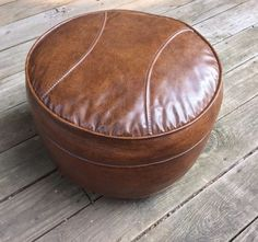 Vintage Brown Vinyl Hassock Ottoman Foot Stool w Wheels Round Rest Padded Wheels #Century #midcenturymodern