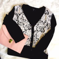ModCloth Black & White Lace Cardigan So much cute! Sheer lace front ready for a pop of color under, super soft knit, 3/4 sleeve, solid black back and black buttons ringed with brass. Excellent condition, no flaws. ModCloth Sweaters Cardigans