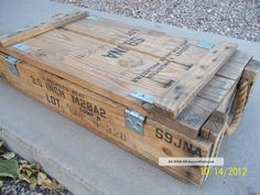 Vintage Antique Wooden Bazooka Weapon Rocket Explosives Ammo Box Crate 1952 Boxes photo