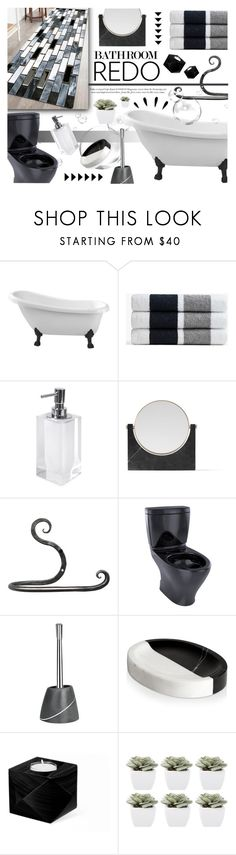 """""""Black and White bathroom!"""" by nvoyce ❤ liked on Polyvore featuring interior, interiors, interior design, home, home decor, interior decorating, James Perse, Jonathan Adler, Menu and TOTO"""