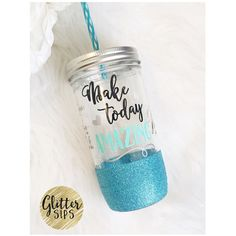 Make Today Amazing Glitter Mason Jar Tumbler Glitter Tumbler Glitter... ($22) ❤ liked on Polyvore featuring home, kitchen & dining, drinkware, drink & barware, home & living, tumblers & water glasses, white, reusable cups, bpa free tumbler and white cups