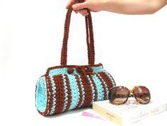 Crochet Bag Cylinder bag ON SALE Brown Blue crochet by aynikki, $55.00