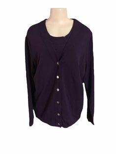 Avenue Purple Cardigan and Sleeveless Blouse Twin Set Size 14 16 | eBay