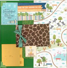 2 page Scrapbooking Layout Kit  It's a Beautiful Day to head to the ZOO = Giraffes