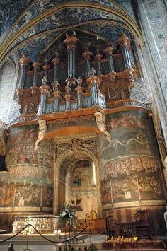 Albi - south France : Sainte Cécile Cathedral 1282 - 1390. Built like a fortress after the Albigensian Crusade to impose and prove the power of the catholic church and of the king of France. A unique monument in gothic style of Languedoc. The last Judgment Fresco, 1474-1484 : a masterpiece !