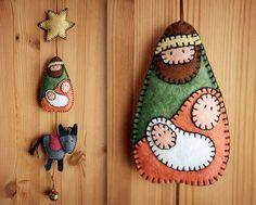 Nativity felt hand made sewn ornament Christmas