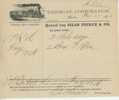 1870 Fitchburg Railroad Billhead Boston Massachusetts Locomotive