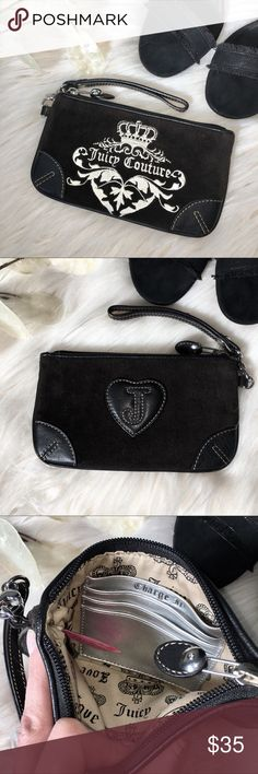 "Juicy Couture Velvet Leather Wristlet Juicy Courture's black velvet wristlet with ""Charge It"" embroidered on the inside credit card pocket. Measures approximately 7.5"" x 4.5"" x 0.5"". Great condition - carried a couple of times - hardware and leather look great. Juicy Couture Bags Clutches & Wristlets"