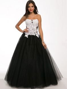 Strapless Black Tulle Appliques Lace Ball Gown Prom Dresses in UK