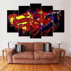 Two Options: No Frame Means Print Only Frame comes stretched, framed, and ready to hang! Difference Between Framed and Unframed: Canvas Frame, Canvas Wall Art, Painting Canvas, Wall Mural, Superman Art, Superman Gifts, Superman Tattoos, Canvas Designs, Diy Frame