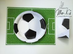 Soccer place mat with soccer plate and napkin Worldcup Football, Football Birthday, Soccer Ball, Napkin, Plate, Dishes, Soccer Birthday, European Football, Plates