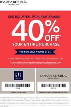 Pinned August 22nd: Extra 40% off everything this weekend at #Banana Republic Factory locations #coupon via The Coupons App