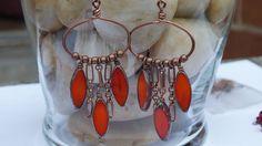 Bohemian Earrings Featuring Czech Picasso Spindle Beads and Copper, boho earrings, dangle earrings, hoop earrings