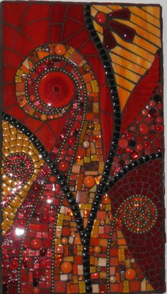 "Abstract ""Esther"" by mosaicdownunder/ Inge, via Flickr, Mosaic in red and gold, anon"