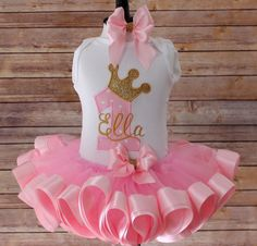 Princess First Birthday Top Ribbon Tutu Hair by TinyTotsEmbroidery