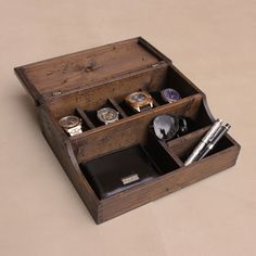 Personalized  Men's Valet and Watch box - Holds 4 watches by OurWeddingInvites on Etsy https://www.etsy.com/listing/202397345/personalized-mens-valet-and-watch-box