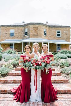 Ruby red off the shoulder bridesmaid dresses for elegant vintage wedding | Lucinda May Photography