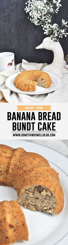 Healthy, Vegan Banana Bread Bundt Cake from Something Swell Media // Got a bunch of bananas about to go bad? Put them to good use in this delicious vegan banana bread! It is the perfect healthy breakfast! Click through for full recipe
