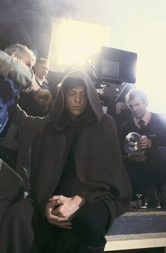 Mark Hamill on the set of Return of the Jedi