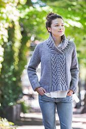 When your lounging agenda demands serious hygge, it's hard to beat a shawl-collared pullover in chunky wool. Bingham works up rapidly in Quarry, with the hem knit in a variable rib that sets up engaging panels of cables feeding into a central plait on the front and back. A straight torso and raglan shoulder shaping create a relaxed look without sacrificing good design; the decrease rate shifts subtly to nibble away excess fabric for an anatomical fit.