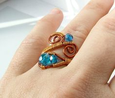 Blue ring copper ring copper enameled ring by VeraNasfaJewelry