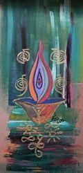 Rizwana A.Mundewadi www.razarts.com  Reiki Purple Fire for Protection Colorful Symbolic Painting