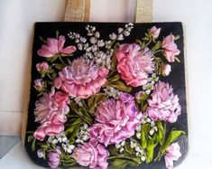 Diaper bag/ Messenger bag/Canvas tote/shoulder bag/ Fabric purse/floral tote bag/Hobo Bags/Unique gifts by beautifullbags on Etsy Ribbon Embroidery Tutorial, Embroidery Bags, Silk Ribbon Embroidery, Hand Embroidery Patterns, Embroidery Designs, Floral Tote Bags, Ribbon Art, Ribbon Flower, Fabric Flowers