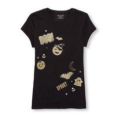 Girls Short Sleeve Glitter Halloween Emoji Graphic Tee
