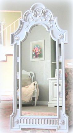 DECORATIVE VINTAGE MIRROR 52x24 Shabby Chic Baby by RevivedVintage, $298.00