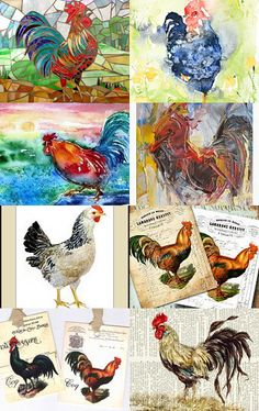#etsy #chicken #art  love this collection of chickens in art --Pinned with TreasuryPin.com
