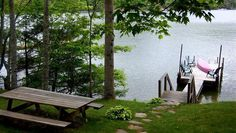 Red Canoe Luxury Cabin Rentals - Walkway to the dock Lake Glenville