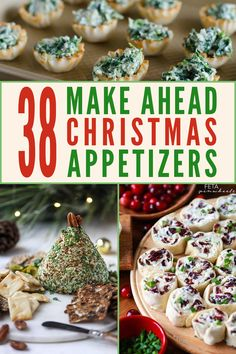 When you're hosting a holiday party, the last thing you need is kitchen stress. This post is full of crowd pleasing and easy, make ahead holiday appetizers. There are elegant and fancy bites for your Christmas party, as well warming comfort food recipes, there are even some healthy options too. #holidayappetizers #Christmasappetizers #makeaheadappetizers #crowdpleaserappetizers #holidayparty #appetizers