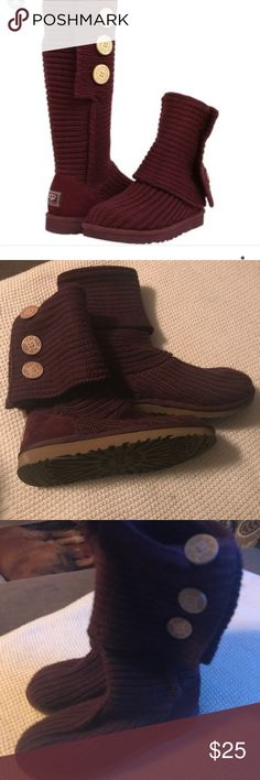 Ugg classic tall Cardy Ugg classic tall Carry Knit in burgundy never worn in excellent condition Ugg Shoes