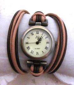 Leather Wrap Woman Watch - Handmade Orlogin's Style Bracelet Watch FREE SHIPPING