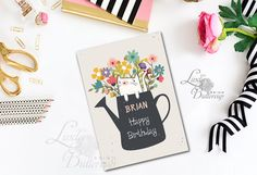 Personalized birthday card, Floral Birthday Card, Cat Birthday card, Spring card, cat card, cute cat card, happy birthady cards, birthday Personalized Birthday Cards, Funny Greeting Cards, Cat Birthday, Cat Cards, Place Card Holders, Unique Jewelry, Handmade Gifts, Spring, Floral