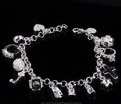 "Bling Bling .925 Sterling Silver 8"" Charm Bangle Bracelet Beautiful Charms #Bangle"