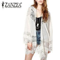 Casual Vintage Boho Kimono Cardigan Lace Crochet Chiffon Loose Outwear Blouse