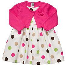 Carter's Girls Dress Set with Cardigan/Diaper Cover - Fuchsia (12 Months)