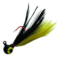 "Firefly Jig - The ultimate ultralight. It is molded with blood red LIP-STICK® hooks and features genuine ""neck-hackle"" tail feathers in brilliant ""fire-fly"" attractor colors for a slow sinking, swimming action Perch, Bluegill, Crappie & Rock Bass simply can't resist."