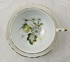 Paragon Blue Tea Cup and Saucer with Floral Center, Double Royal Warrant, Antique Tea Cup, Bone China