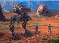 Star Wars AT ST redesign, Michal Kus on ArtStation at https://www.artstation.com/artwork/4RJGY