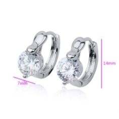 'Gorgeous CZ Huggie Hoop Earrings,Rhodium Plated' is going up for auction at  6am Sat, Aug 17 with a starting bid of $5.