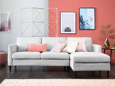 Pantone Colour of the Year Living Coral top picks. With Pantone's Colour of the Year announced as Living Coral, we round up our favourite shopping picks to make sure your home is ahead of the curve for Coral Living Rooms, Coral Bedroom, Living Room Grey, Living Room Decor, Corner Sofa Living Room, Grey Corner Sofa, Coral Paint Colors, Stain Colors, Coral Home Decor